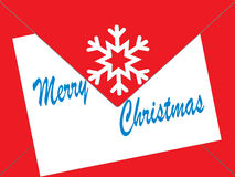 Christmas cards in an envelope. Christmas wishes in a red envelope with white snowflake white paper and the text Merry Christmas Stock Photo