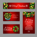 Christmas cards with fir tree branches and balls. Set of Christmas cards with fir tree branches and balls Stock Image