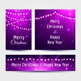 Christmas cards with garlands set. Set of Christmas cards with light garlands and text in violet and pink colors, vector illustration Stock Images