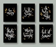 Christmas cards and gift tags with calligraphy. Handwritten modern lettering. Handwritten Christmas wishes for holiday greeting ca. Rds. Handdrawn lettering. New Stock Photography