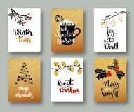 Christmas cards and gift tags with calligraphy. Handwritten modern lettering. Handwritten Christmas wishes for holiday greeting ca. Rds. Handdrawn lettering. New Stock Photo