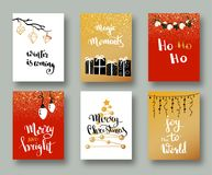 Christmas cards and gift tags with calligraphy. Handwritten modern lettering. Handwritten Christmas wishes for holiday greeting ca. Rds. Handdrawn lettering. New Royalty Free Stock Photos