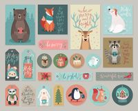Christmas cards and gift tags set, hand drawn style. Royalty Free Stock Photography