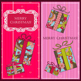 Christmas cards with gifts Royalty Free Stock Photography