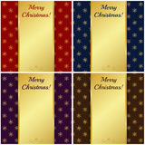 Christmas cards with gold banners. Vector illustration. Royalty Free Stock Photography
