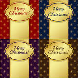 Christmas cards with gold tags. Vector illustration. Stock Photo