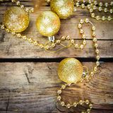 Christmas cards with golden shiny balls Stock Image