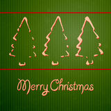 Christmas cards with hand-drawn outline fir trees. On green grunge background Stock Photos