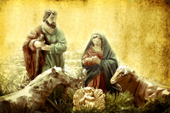 Christmas Cards, Nativity scene. Figures in retro background Royalty Free Stock Photography