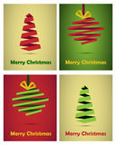Christmas cards origami style. Set of four Christmas cards in origami style,  on white background. EPS file available Royalty Free Stock Images