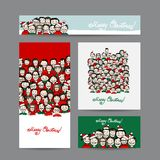 Christmas cards with people crowd for your design vector illustration