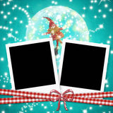 Christmas cards photo frames cute elf Stock Photo