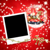 Christmas cards photo frames rocking horse Royalty Free Stock Image