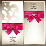 Christmas cards with red gift bow. Stock Images