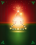 Christmas cards Red Green tree star Stock Photography