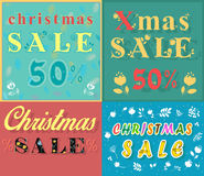 Christmas cards for retail. Artistic font stock images