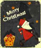 Christmas cards with Santa Claus and Gift box Royalty Free Stock Photos