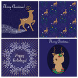 Christmas cards and seamless pattern with deers Stock Photos