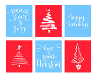 Christmas cards set. Calligraphy wishes and hand drawn christmas tree.  Stock Photos