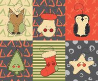 Christmas cards set with cute cartoon xmas toys, owl, tree, christmas stocking, penguin, glove, star royalty free illustration