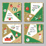 Christmas cards set with different signs on Christmas and New Year. Wreath, cake, gingerbread house, mittens, toys, gifts and socks. Greeting card Stock Photography