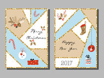 Christmas cards set with different signs on Christmas and New Year. Wreath, cake, gingerbread house, mittens, toys, gifts and socks. Greeting card Royalty Free Stock Images