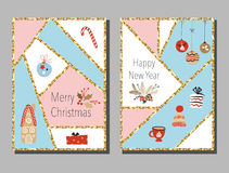 Christmas cards set with different signs on Christmas and New Year. Wreath, cake, gingerbread house, mittens, toys, gifts and socks. Greeting card Royalty Free Stock Photos