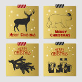 Christmas cards set. Hand drawn Christmas cards set with textured deer, polar bear, fir tree branch, and gift boxes vector illustrations Stock Images