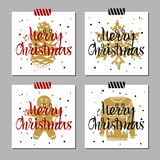 Christmas cards set. Hand drawn Christmas cards set with textured fir cone, snowflake, gingerbread man, Christmas sweater vector illustrations Stock Photo