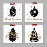 Christmas cards set. Hand drawn Christmas cards set with textured fir cones, Christmas tree ball, and Christmas tree vector illustrations Royalty Free Stock Photography