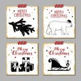 Christmas cards set. Hand drawn Christmas cards set with textured fir tree branch, polar bear, gift boxes, and Santa's sleigh vector illustrations Stock Photos