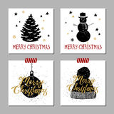Christmas cards set. Hand drawn Christmas cards set with textured fir tree, snowman, Christmas tree ball, knitted hat vector illustrations Royalty Free Stock Images