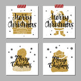Christmas cards set. Hand drawn Christmas cards set with textured fireplace, Santa Claus, knitted hat, and Santa's sack of gifts vector illustrations Royalty Free Stock Photos