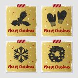 Christmas cards set. Hand drawn Christmas cards set with textured mistletoe, mittens, snowflake, and Christmas wreath vector illustrations Royalty Free Stock Photography