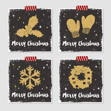 Christmas cards set. Hand drawn Christmas cards set with textured mistletoe, mittens, snowflake, and Christmas wreath vector illustrations Stock Photo