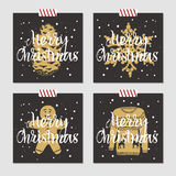 Christmas cards set. Hand drawn Christmas cards set with textured pine cone, snowflake, gingerbread man, and Christmas sweater vector illustrations Stock Image