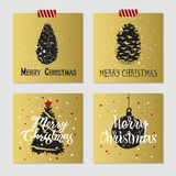 Christmas cards set. Hand drawn Christmas cards set with textured pine cones, Christmas tree, and decorative ball vector illustrations Royalty Free Stock Photos