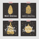 Christmas cards set. Hand drawn Christmas cards set with textured pine cones, christmas tree, and decorative ball vector illustrations Royalty Free Stock Photo