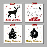 Christmas cards set. Hand drawn Christmas cards set with textured reindeer polar bear, fir tree, and Christmas tree ball vector illustrations Stock Photography