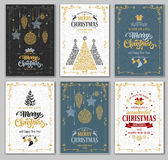 Christmas cards set. Merry Christmas and Happy New Year greeting cards designs set. Vector graphic in unusual style. Easy for edit and use Stock Photography