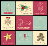 9 Christmas cards. Set of 9 Christmas cards with snowflake, holly berry , fir tree,  star, gift,baubles and cookie Royalty Free Stock Photography