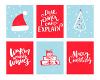Christmas cards set. Vector Christmas design with hand drawn elements and lettering. Dear Santa, let me explain. Warm. Winter wishes Stock Photos