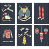Christmas cards set Stock Photography