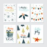 Christmas cards set Royalty Free Stock Images