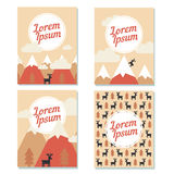 Christmas cards set. Vector christmas cards with snow mountains peaks, fur trees and deers. Flat design for poster, card or web Royalty Free Stock Photos
