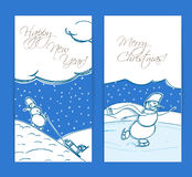 Christmas cards with snowman. Christmas cards. Merry Christmas and Happy new Year Stock Illustration