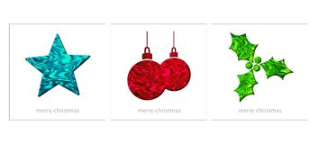Christmas cards with a star, decorations and holly Royalty Free Stock Photography