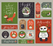 Christmas cards and tags set, hand drawn style. Royalty Free Stock Photo