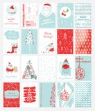 Christmas cards templates with cats, Santa Claus, owl, pig and hand drawn greeting text. Collection of 20 Christmas cards templates with cats, Santa Claus, owl royalty free illustration