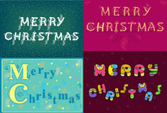 Christmas cards with texts by artistic font Royalty Free Stock Photo